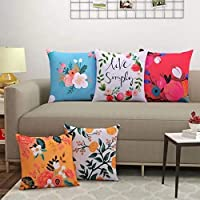 YUKU Set of 5 Decorative Hand Made Jute Throw/Pillow Cushion Covers (Multi Color -02)