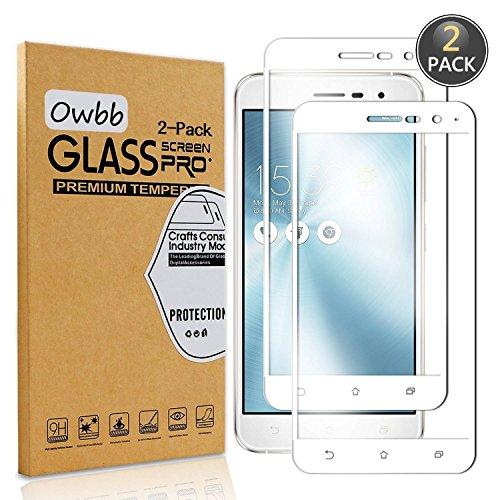 [2 Pezzi] Owbb® Bianco Vetro Temperato Pellicola Per Asus ZenFone 3 (5.2pollici) ZE520KL Full Coverage Protettiva Protezione 9H Durezza 99% Alta Trasparente