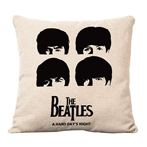 AYRSJCL algodón de Lino Decorativo Almohada Throw Almohada Funda de cojín de los Beatles de Cabeza Cuadrada de...