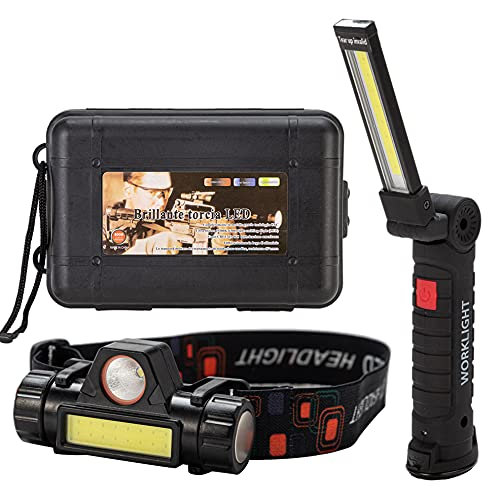 Work Lights Set, 1 Rechargeable Work Light And 1 Rechargeable Headlamp, Rechargeable Headlamp Falshlight