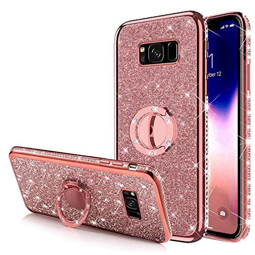 Carcasa para Galaxy S8, con anillo de soporte, brillante, con brillantes y brillantes, silicona, gel de poliuretano termoplástico, marco cromado, carcasa para Galaxy S8,, oro rosa
