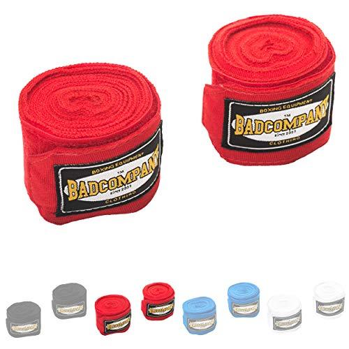 Bad Company Box-Bandagen I Elastische Handgelenksbandagen mit breitem Klettverschluss, Daumenschlaufe und Einer Wickelanleitung für das Boxtraining I Rot 4,5 m