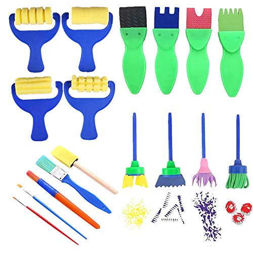 Schreibwarenzubehör für Büro, Schule, Studenten, Geschenk & 17 Stück Kinder Malschwamm, Pinsel DIY Graffiti Zeichnen Kunst Handwerk Werkzeug