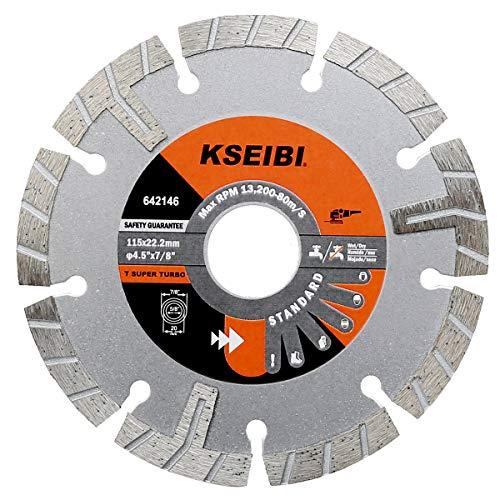 Kseibi 642146 Premium Wet Diamond Saw Blade 4 1/2 Inch Turbo Rim T Type Tile Cutting Tools For Concrete Masonry Granite Porcelain Stone Ceramic Brick Cutting Wheels For Angle Grinder Tool