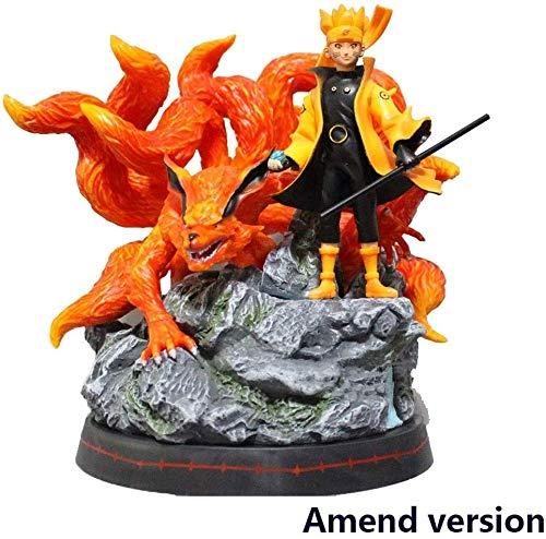 BAYUESHOP Game Character Model Naruto Shippuden: Uzumaki Naruto Nine-Tailed Demon Fox Statue PVC Figure - High 9.8 Inche for Men and Women Anime Model