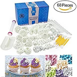 68pcs Fondant Cake Decorating Tools Plunger Cutters Accessories Set DIY Home Kitchen Plastic Baking Making Sugarcraft Icing Rose Flower Paste Leaf Moulds Gift Present Kit Non-stick Rolling Pin Smoother Embosser Equipment