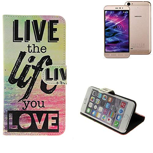 K-S-Trade® Schutzhülle Für Medion Life E5006- Schutz Hülle 360° Wallet Case ''live Life Love'' Schutzhülle Handy Tasche Handyhülle Etui Smartphone Flip Cover Standfunktion (1x)