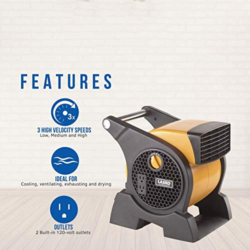 Lasko Pro-Performance High Velocity Utility Fan-Features Pivoting Blower and Built-in Outlets, 1, Yellow 4900