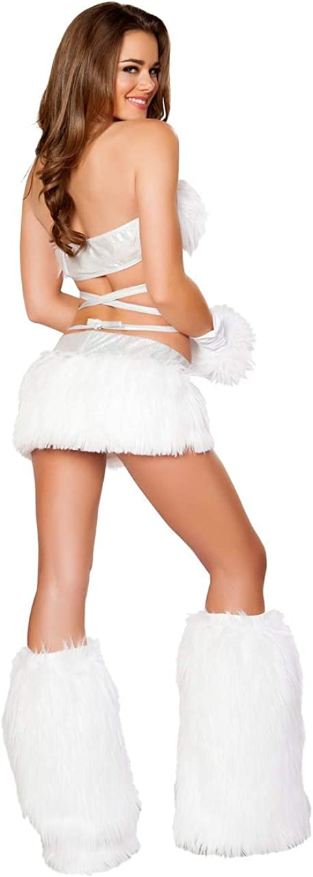 J Valentine Womens Faux Fur Light-Up Skirt with Lights
