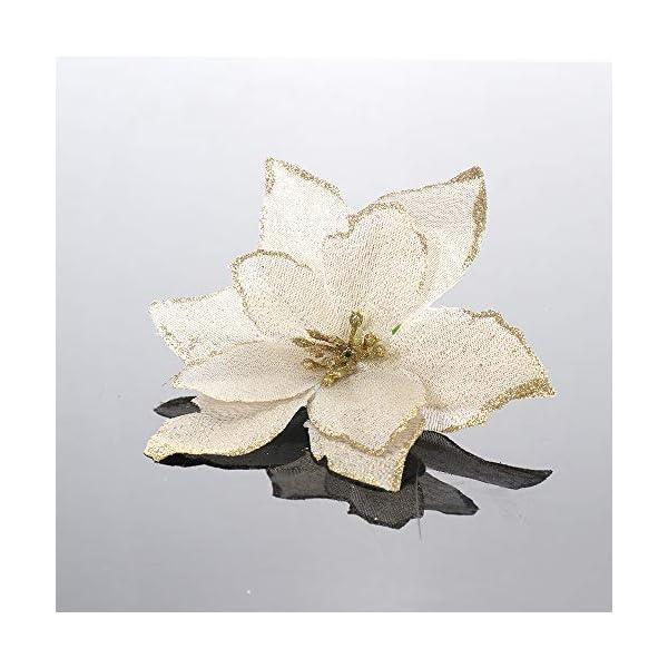 JK – 12 piezas de flores artificiales con purpurina para boda, Navidad, coronas de árbol de Navidad, decoración de…