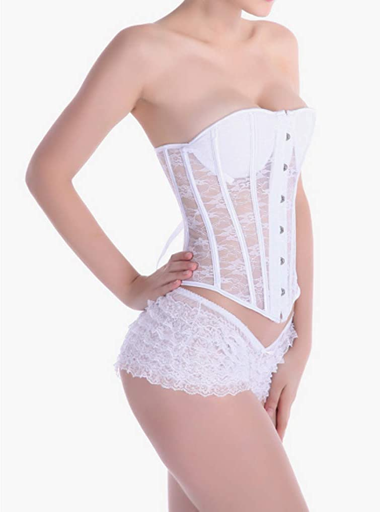 Womens Steel Bone Bustier Lace Corsets Underbust Latex Beauty Slimming Waist Cincher