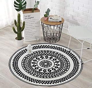 Tapis de salon rond à imitation carreaux de ciment, Collection Utopia 114 de couleur Noir et blanc - Taille: 100x100cm