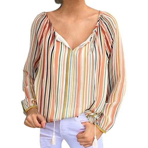 DOFENG Damen T Shirt Bluse Sweatshirt Damen Lange Ärmel Mode Locker Streifen Lässig Bandage V Hals Pullover Oberteil Tops (Orange, Medium)