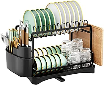 HOWDIA Dish Drainer and Drainboard Set, Two Tier Dish Rack
