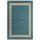 vidaXL Tappeto Artigianale Manuale Corsia Passatoia Rettangolare Rustica Cucina Protezione Pavimento in Juta Intrecciata Blu 160x230 cm