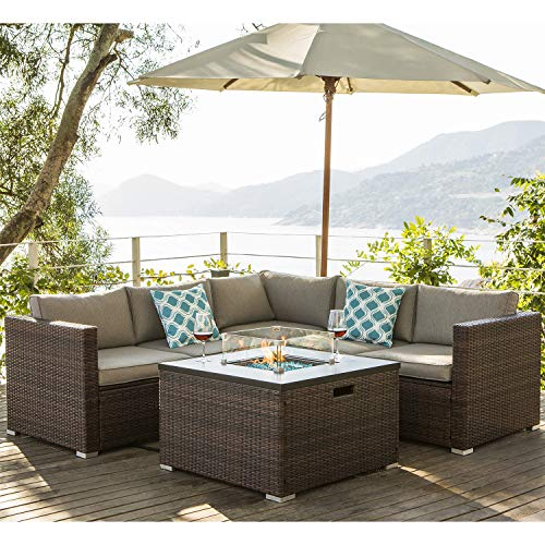 COSIEST 4-Piece Propane Fire Pit Outdoor Furniture Brown Sofa Set, Patio Setional w 32-inch Square Wicker Fire Table (40,000 BTU), Fits 20 gal Tank Outside w Glass Wind Guard for Garden, Backyard