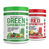 Dr.Colbert's Organic Supremefood® Twin Pack - One Fermented Green Supremefood Apple Cinnamon Flavored Veggie Blend, (30 Day Supply) + One Organic Red Supremefood® with Probiotics (30 Day Supply)