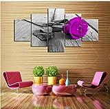 wmyzfs HD 5 Stücke Lila Rose Blumen Drucke Wandmalerei