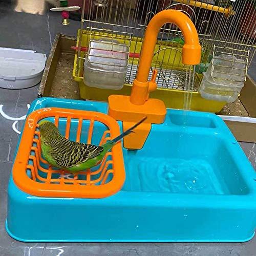 Junean Baños para pájaros, comedero para pájaros, Loro, bañera automática, Piscina, Jaula para pájaros, Juguetes para el baño, Grifo, Jaula para pájaros