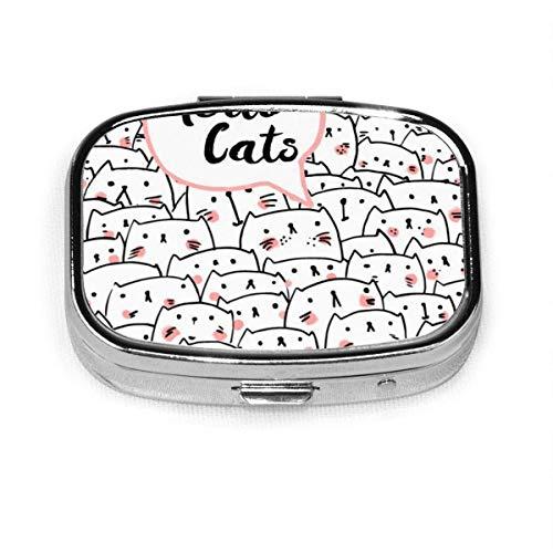 Hello Cats Fashion Square Pastillero Vitamina Medicina Soporte para tableta Cartera Organizador Estuche