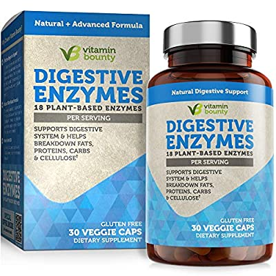 Vitamin Bounty Digestive Enzymes - Immune Support & Gut Health 18 Plant Based Enzymes for Digestion