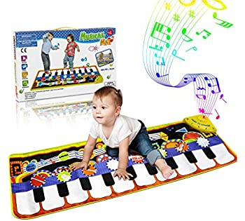 RenFox Kids Musical Mats Music Piano Keyboard Dance Floor Mat Carpet Animal Blanket Touch Playmat Early Education Toys for Baby Girls Boys 43.3x14.2in