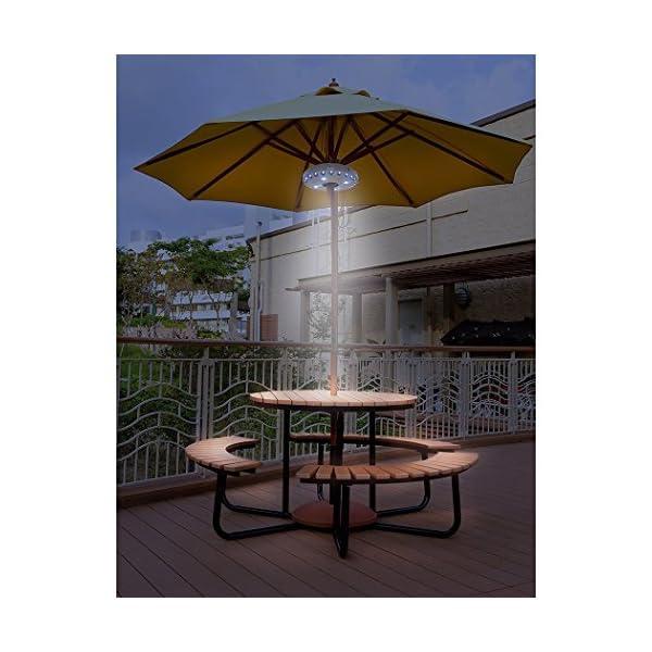 Txian Cordless 28 LED Umbrella Lights 3 Level Dimming Parasol LED Light Umbrella Pole Patio Tents Lighting Pure White… 2