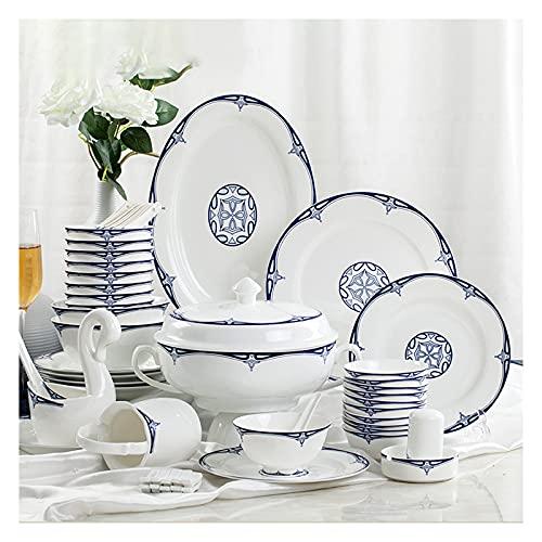 ZWJ Set di stoviglie in Ceramica Stile retrò Bella Combinazione di Porcellana Blu e Bianco Set per la Cena per la Famiglia Wedding Hotel Christmas