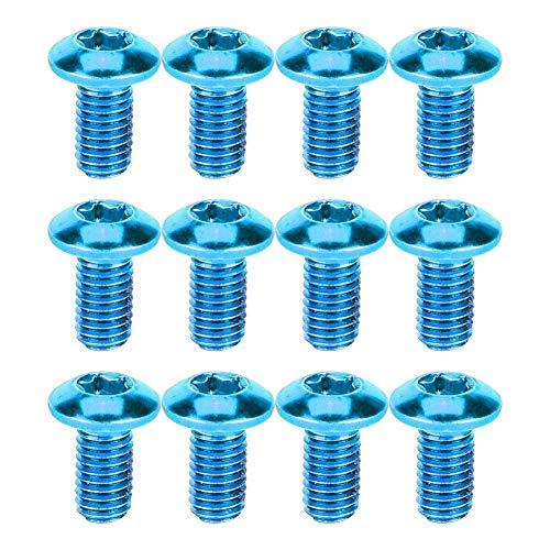 Hancend 12PCS Hochleistungsstahl Fahrrad Fahrrad Scheibenbremsscheibe T25 Schraube Scheibe Torx Schraube (blau)(Blau)