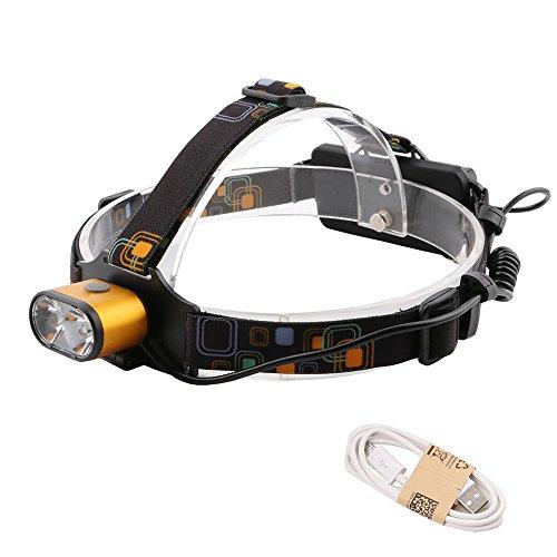Cabeza linternas LED super brillante Recargable T6 LED 5000 lúmenes faros regulables 3 modos 18650 USB impermeable ZOOMABLE caso de los faros al aire libre que va de excursión de pesca, duradero
