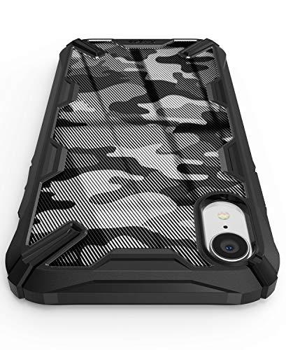 Ringke Fusion X Design DDP Kompatibel mit iPhone XR Hülle Halb Undurchsichtig PC-Rückseite mit TPU-Stoßfänger Stilvoll Schutzhülle für iPhone XR - Camo Black