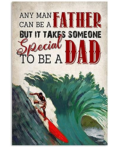 Arte de la pared del Surfing Dad In The See, Surfing Man with Big Wave Wall Art, Surfing Man Ondas en el mar, Surfing Man and Red Surfboard Picture, sin marco – Póster de 24x36 pulgadas