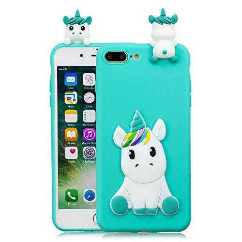 HopMore Compatible con Funda iPhone 7 Plus/iPhone 8 Plus Silicona Dibujo 3D Divertidas TPU Gel Kawaii Ultrafina Slim Case Antigolpes Caso Protección Design Carcasas Gracioso - Unicornio Verde