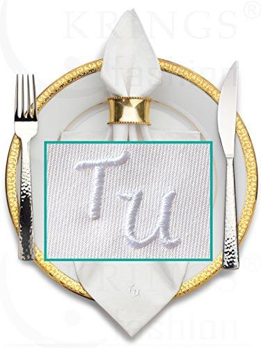 Stoffserviette mit Monogramm hochwertig bestickt, Serviettenfarbe weiß, Größe 50 x 50 cm, Stickfarbe wählbar