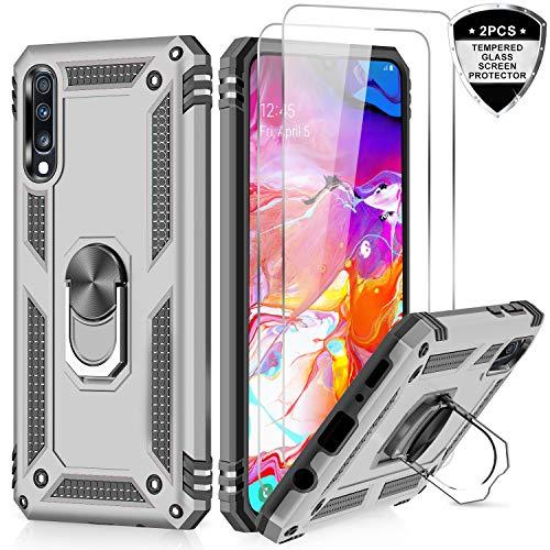 LeYi für Samsung Galaxy A50/A50s/A30s Hülle Handyhülle mit Panzerglas Schutzfolie (2 Stück), 360 Grad Ringhalter Cover TPU Bumper Stoßdämpfung Schutzhülle für Case Galaxy A50 Handy Hüllen Silber