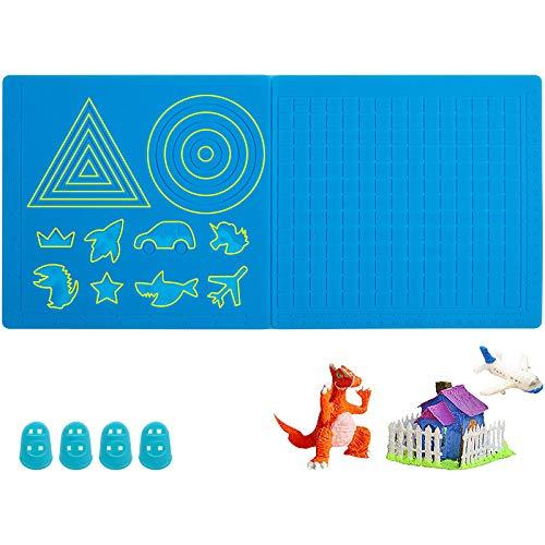 GLKEBY Alfombrilla de silicona para bolígrafo 3D, Alfombrilla de dibujo 3D con patrones ricos, Viene con 4 protectores de dedos, adecuados para principiantes/niños 3D