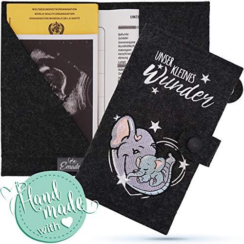 Emadele Mutter-Kind-Pass Hülle Elefant 'Unser Kleines Wunder' aus Filz Handmade. Mutterpasshülle Organizer Fächer für Ultraschallbilder, Impfpass-Hülle Format für Östereichischen Mutterpass