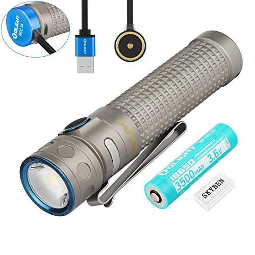 Olight Baton Pro Titanium 2000 Lumens Cool White LED 18650 Magnetic Rechargeable LED Flashlight (Limited Edition Ti)