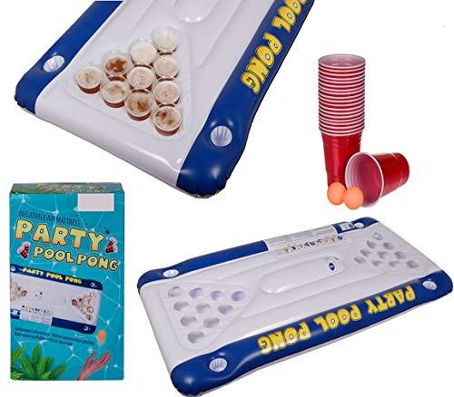 Bada Bing 23 TLG. Luftmatratze mit Integriertem Trinkspiel Pool Pong Ca. 152 x 76 cm Partyspiel Aufblasbar Bier Pong Beer Spiel Partyspiel Für Unterwegs JGA 25