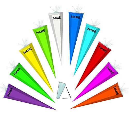 alles-meine.de GmbH Schultüte / Bastelschultüte - Weiß - 85 cm incl. Namen / Tüllabschluß - Zuckertüte - Rohling zum Basteln, Bemalen und Bekleben Bastelschultüte