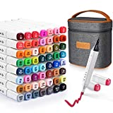 60 Colors Art Markers Set, Dual Tips alcohol Markers with Carrying Case,Quick-drying & easy mixing drawing markers set, Perfect for Drawing,Sketch,Coloring and Illustration, Bonus 2 Fine Highlighters