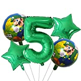 ENXI Globos 5 UNIDS Super Mario Globos 30 Pulgadas Número de niño Chica Fiesta Decoraciones Cumpleaños Mario Luigi Bros Mylar Globos Decoración ( Color : Burgundy )