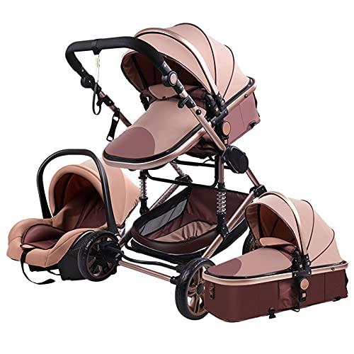 Baby Stroller 3 in 1 Portable Travel Baby Carriage Folding Baby Prams Aluminum Frame High Landscape Car for Newborn Babyboomer Poussette (Beige)