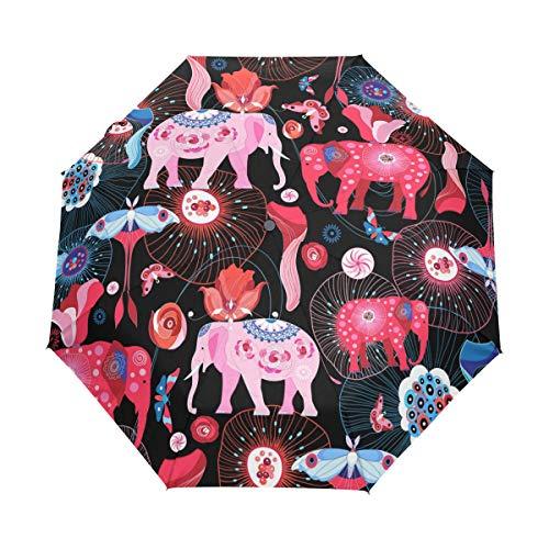 Faltbarer Reise-Regenschirm, Elefanten, Quallen und Insektenkunst, Sonnenschutz, winddicht, regendicht, tragbar, automatischer Sonnenschirm