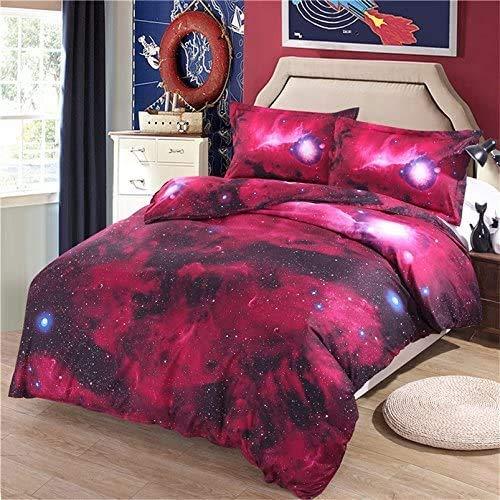 3D galaktischen kosmischen Himmel Anzüge Kinderbett Einhorn Sterne Mond Farbdruck Einzelbettbezug 140 x 200 cm,E