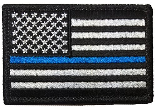 """Tactical USA Flag Police Law Enforcement Thin Blue Line Iron Sewing on Patch - Black & White 2""""x3"""" - by Ranger Return (Iron-Blue-LINE)"""