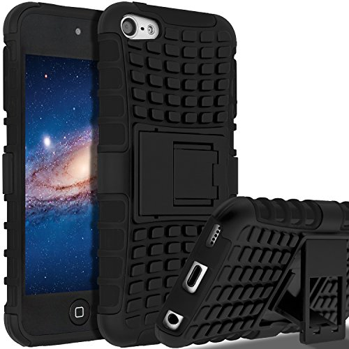 iPod Touch 7 Case,iPod Touch 6 Case,iPod Touch 5 Case, SLMY(TM) Heavy Duty Dual Layer Shockproof Hybrid Rugged Cover Case with Built-in Kickstand for Apple iPod Touch 5 / 6 / 7 Black