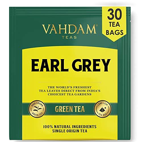 Earl Grey Citrus Green (30 bolsitas de té), hojas de té verde del Himalaya mezcladas con aceite de bergamota natural - Las mejores bolsas de té Earl Grey, bolsas de té de hoja larga de bergamota