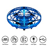 Hand Operated Drone for Kids, Mini Drone Quad Induction Levitation UFO, 360° Indoor Drone Flying Ball Toys for Boys with 360° Rotating and Shinning LED Lights, Blue