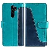 FMPCUON Funda para Xiaomi Redmi 9 con Tapa,Funda Cartera Magnético Carcasa Redmi 9, Libro Caso Móvil para Redmi 9 Funda Cartera, Azul/Verde